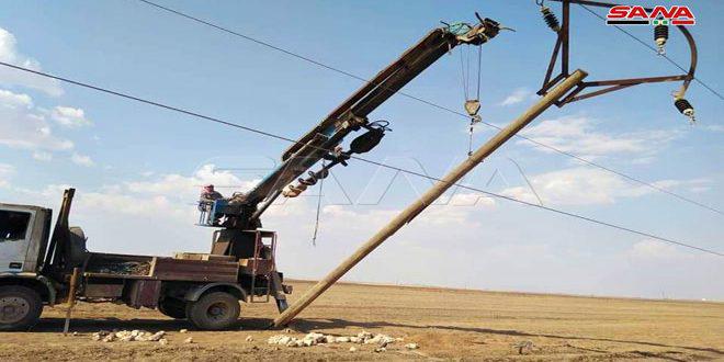 كهرباء الحسكة تعيد خط زركان للخدمة بعد توقفه جراء عدوان تركي على المنطقة