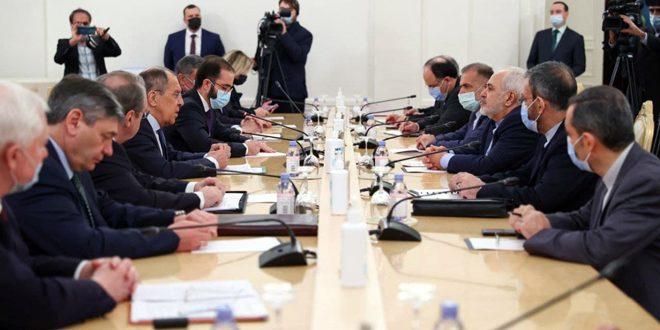 لافروف وظريف: ضرورة إيجاد حل سياسي للأزمة في سورية وتنفيذ القرار الأممي 2254