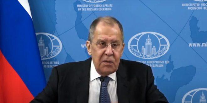 لافروف: ما تقوم به الولايات المتحدة في سورية ينتهك القرار  2254 الذي ينص على الالتزام بسيادتها