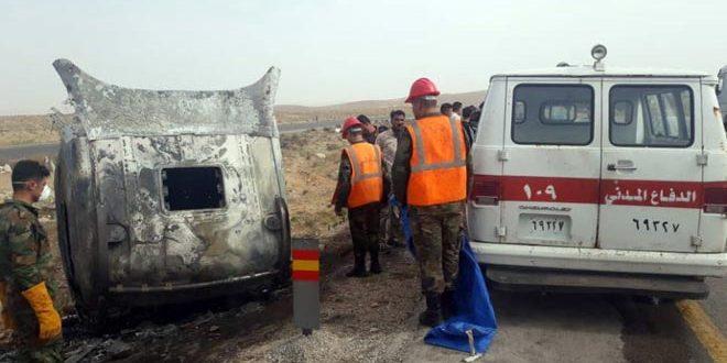 وفاة سائق صهريج لنقل المحروقات جراء حريق اندلع في الكبين على طريق حمص-دمشق