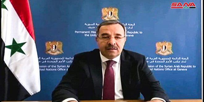 السفير آلا: التدابير القسرية التي تستهدف سورية غير أخلاقية وتضر بجهودها في الانتقال إلى التنمية وإعادة الإعمار