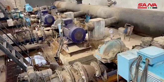 صيانة بئرين جديدتين ومضخة أفقية في مشروع مياه علوك بالحسكة ووضعها بالخدمة